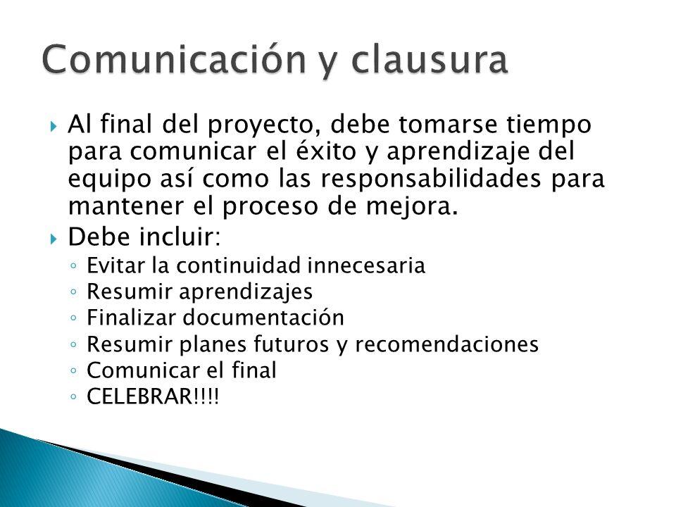Al final del proyecto, debe tomarse tiempo para comunicar el éxito y aprendizaje del equipo así como las responsabilidades para mantener el proceso de
