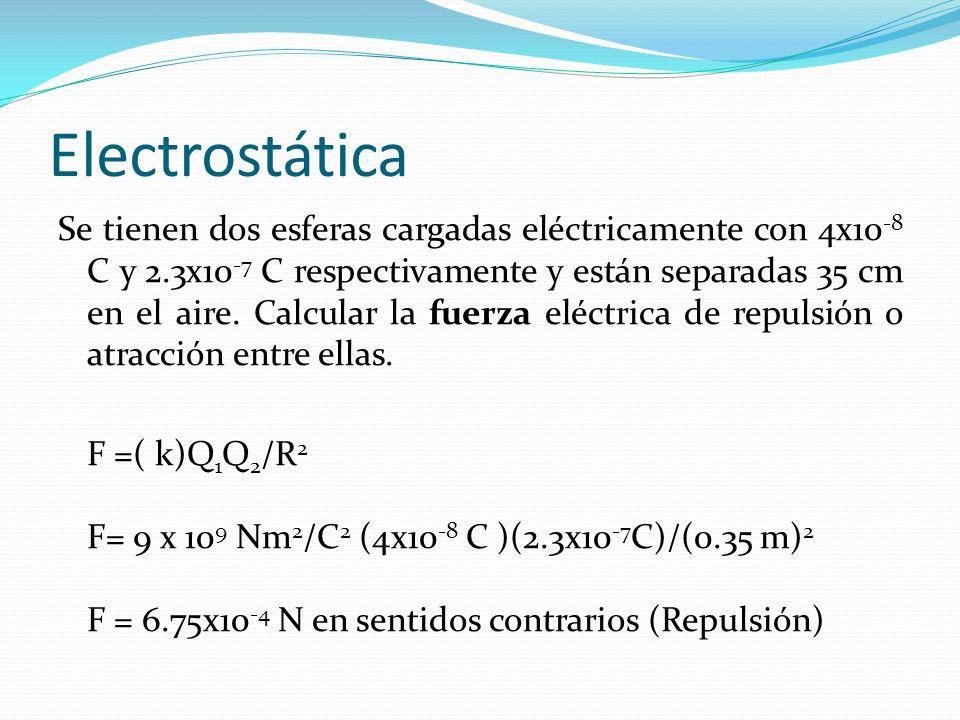 Electrostática Se tienen dos esferas cargadas eléctricamente con 4x10 -8 C y 2.3x10 -7 C respectivamente y están separadas 35 cm en el aire. Calcular