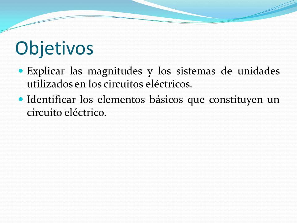 Objetivos Explicar las magnitudes y los sistemas de unidades utilizados en los circuitos eléctricos. Identificar los elementos básicos que constituyen