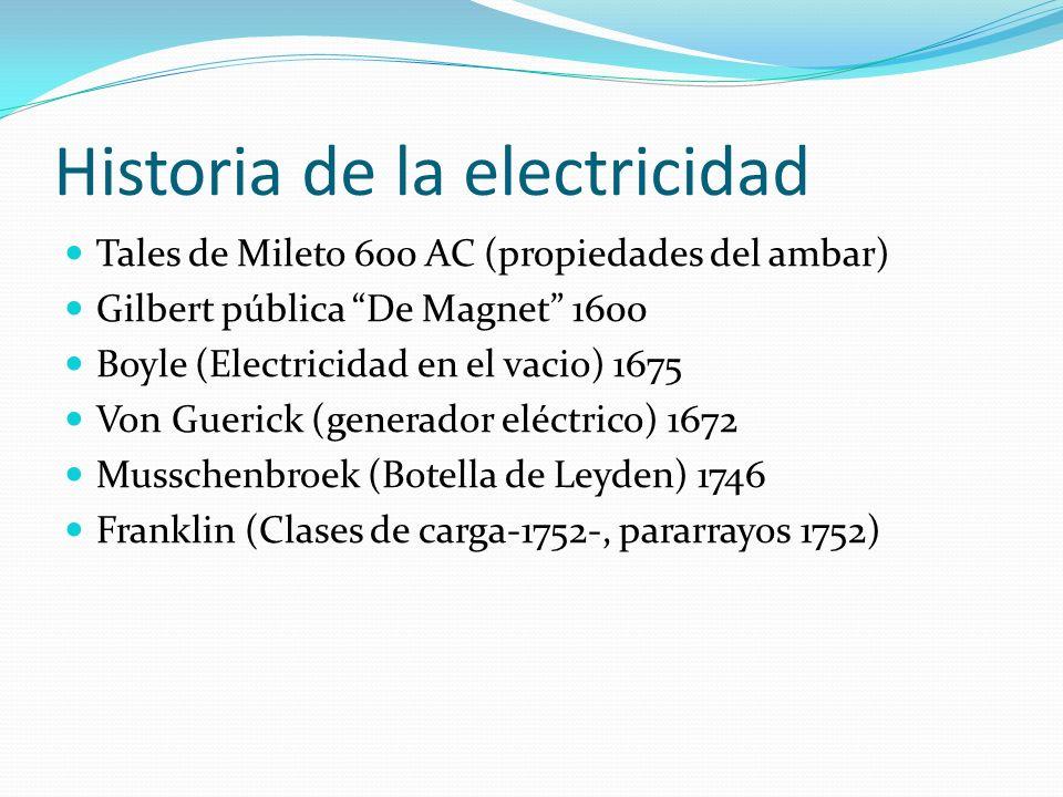Historia de la electricidad Tales de Mileto 600 AC (propiedades del ambar) Gilbert pública De Magnet 1600 Boyle (Electricidad en el vacio) 1675 Von Gu