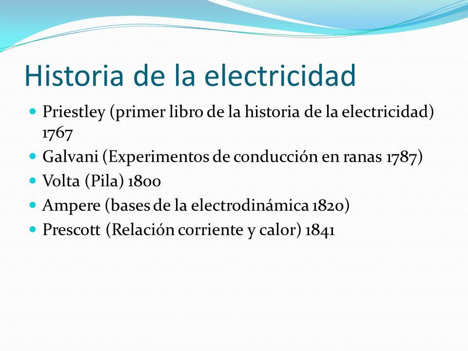 Historia de la electricidad Priestley (primer libro de la historia de la electricidad) 1767 Galvani (Experimentos de conducción en ranas 1787) Volta (