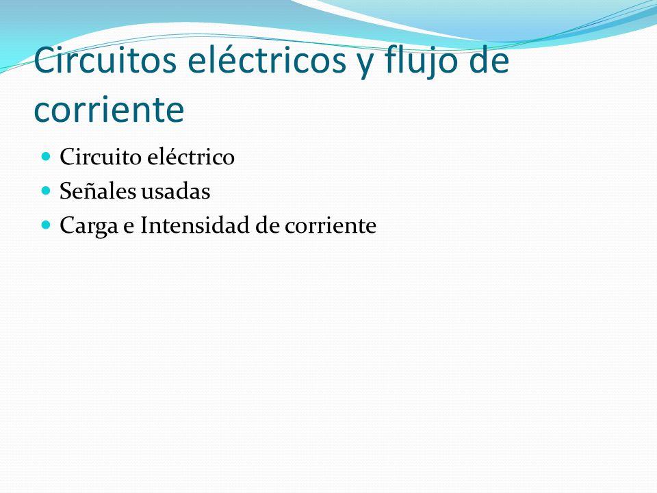 Circuitos eléctricos y flujo de corriente Circuito eléctrico Señales usadas Carga e Intensidad de corriente