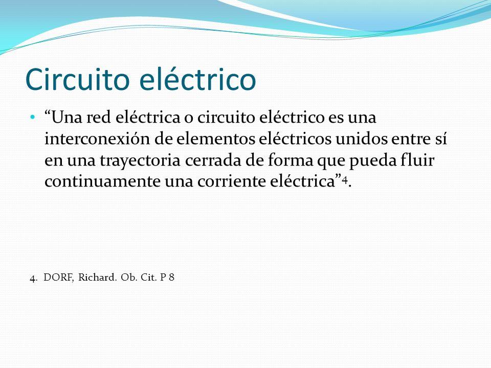 Circuito eléctrico Una red eléctrica o circuito eléctrico es una interconexión de elementos eléctricos unidos entre sí en una trayectoria cerrada de f