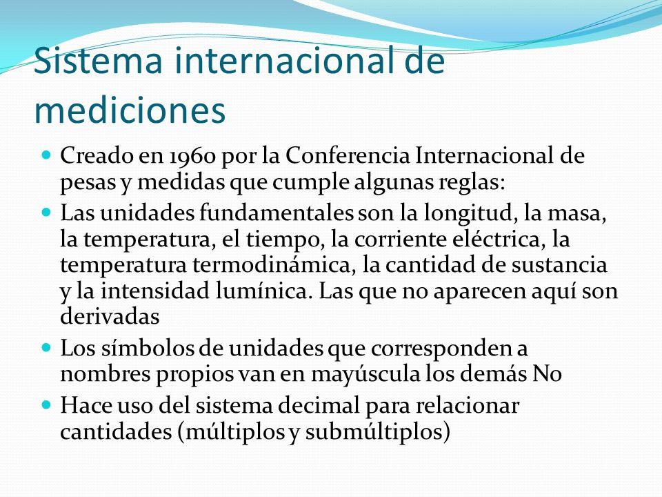 Sistema internacional de mediciones Creado en 1960 por la Conferencia Internacional de pesas y medidas que cumple algunas reglas: Las unidades fundame