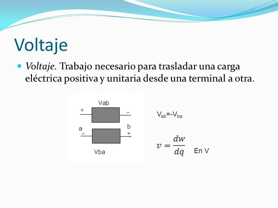 Voltaje Voltaje. Trabajo necesario para trasladar una carga eléctrica positiva y unitaria desde una terminal a otra. V ab =-V ba En V