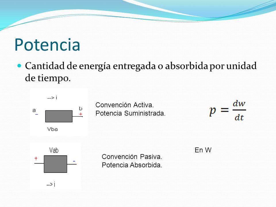 Potencia Cantidad de energía entregada o absorbida por unidad de tiempo. Convención Activa. Potencia Suministrada. Convención Pasiva. Potencia Absorbi
