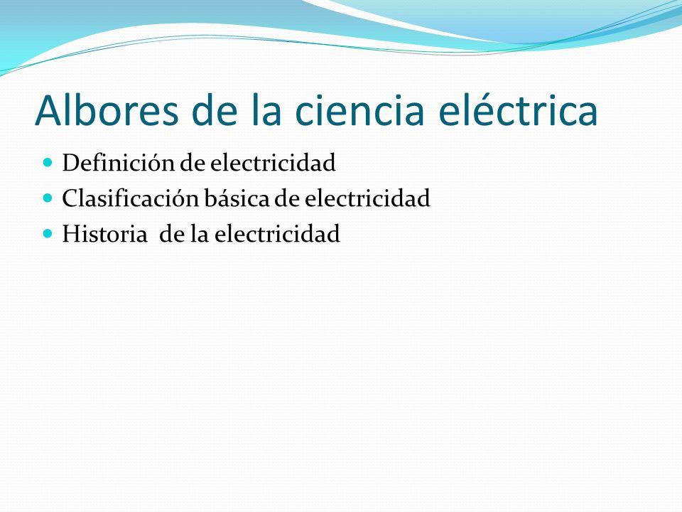 Albores de la ciencia eléctrica Definición de electricidad Clasificación básica de electricidad Historia de la electricidad