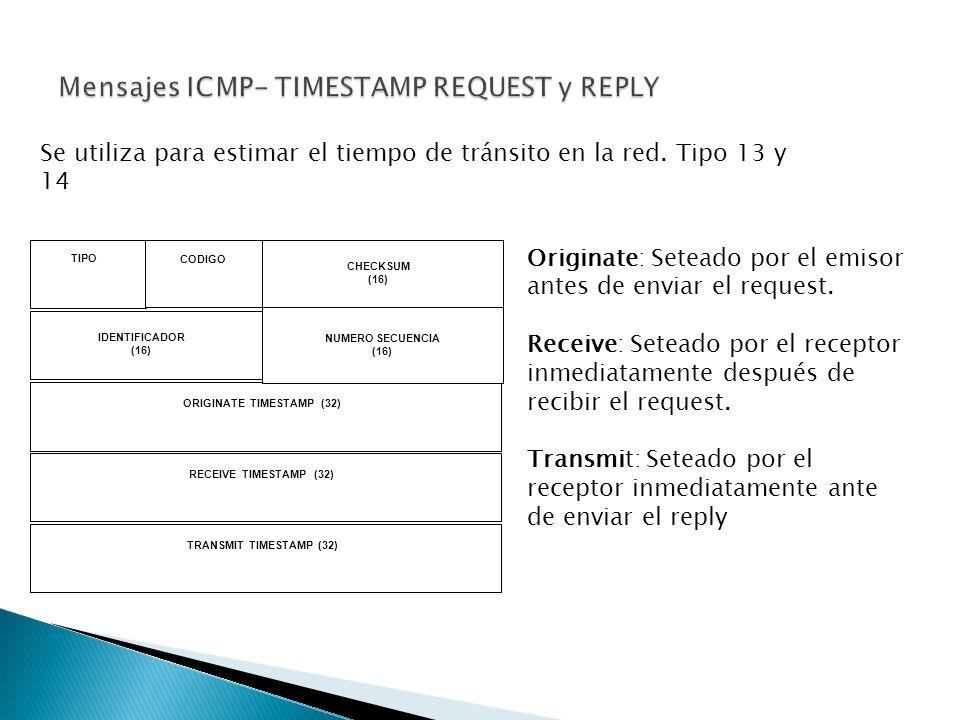 TIPO CODIGO CHECKSUM (16) IDENTIFICADOR (16) NUMERO SECUENCIA (16) ORIGINATE TIMESTAMP (32) RECEIVE TIMESTAMP (32) TRANSMIT TIMESTAMP (32) Se utiliza para estimar el tiempo de tránsito en la red.
