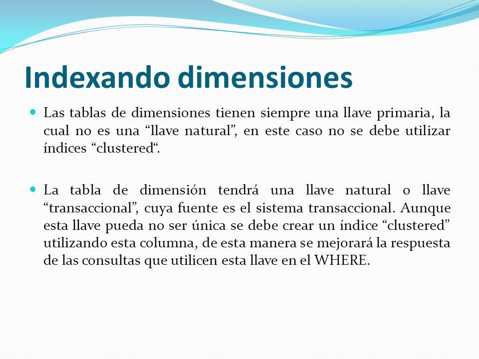 Indexando dimensiones Las tablas de dimensiones tienen siempre una llave primaria, la cual no es una llave natural, en este caso no se debe utilizar í