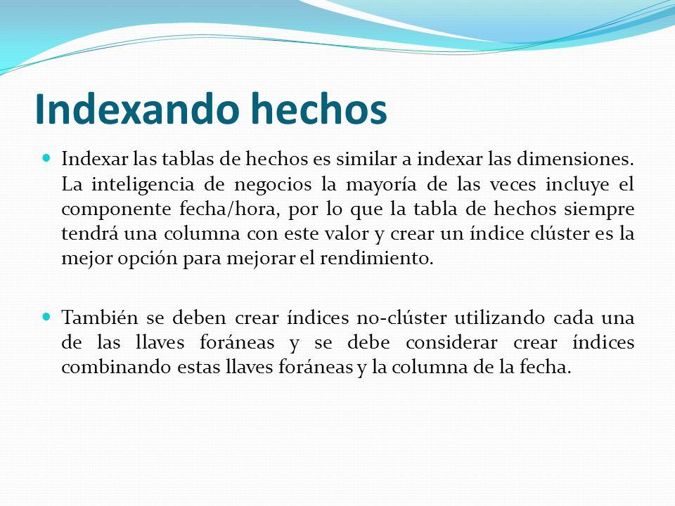 Indexando hechos Indexar las tablas de hechos es similar a indexar las dimensiones. La inteligencia de negocios la mayoría de las veces incluye el com