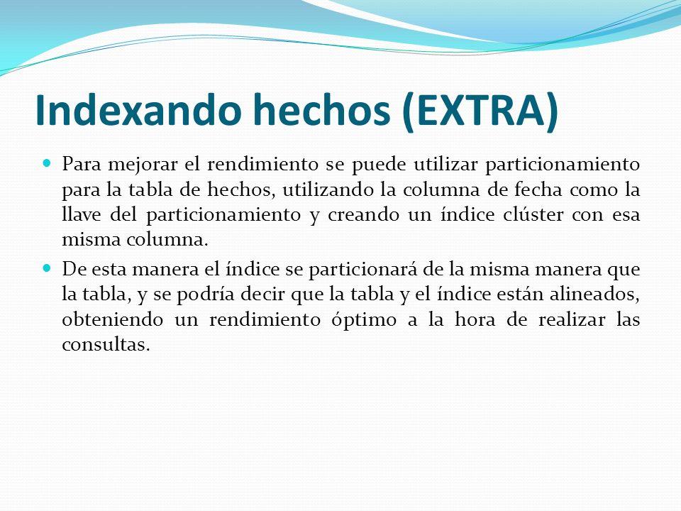 Indexando hechos (EXTRA) Para mejorar el rendimiento se puede utilizar particionamiento para la tabla de hechos, utilizando la columna de fecha como l