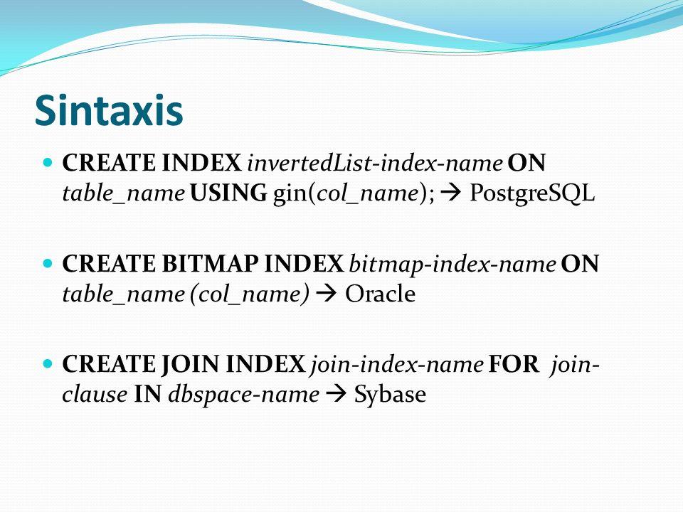 Sintaxis CREATE INDEX invertedList-index-name ON table_name USING gin(col_name); PostgreSQL CREATE BITMAP INDEX bitmap-index-name ON table_name (col_n