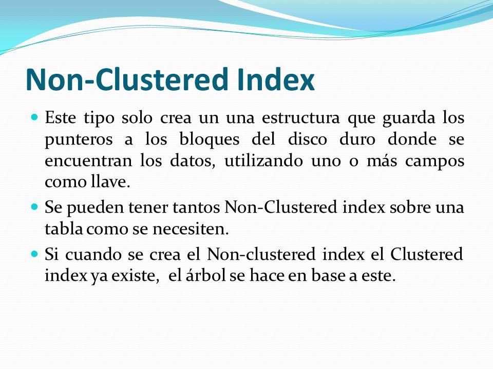 Non-Clustered Index Este tipo solo crea un una estructura que guarda los punteros a los bloques del disco duro donde se encuentran los datos, utilizan