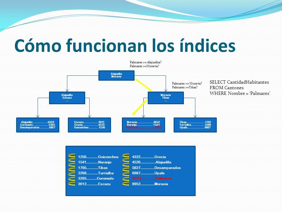 Técnicas de indexado en DW Índice Árbol Balanceado: Cada objeto en la estructura de árbol es un grupo de claves del índice ordenadas llamadas páginas del índice.