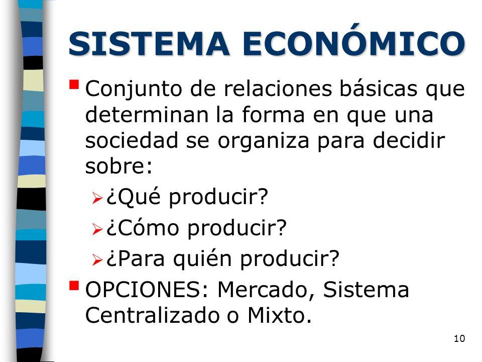 10 SISTEMA ECONÓMICO Conjunto de relaciones básicas que determinan la forma en que una sociedad se organiza para decidir sobre: ¿Qué producir.