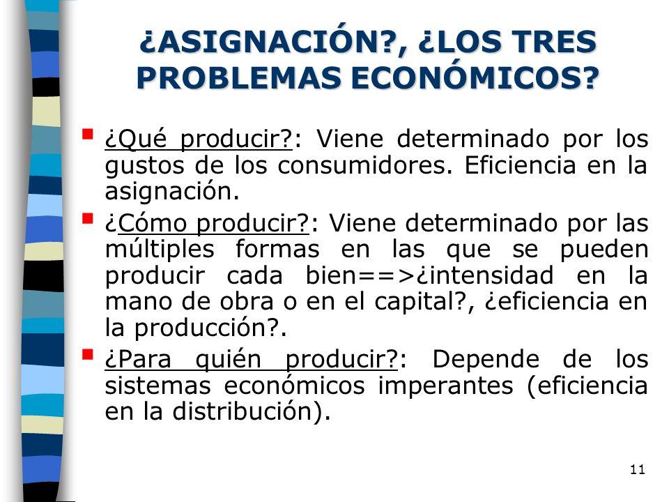 11 ¿ASIGNACIÓN?, ¿LOS TRES PROBLEMAS ECONÓMICOS.