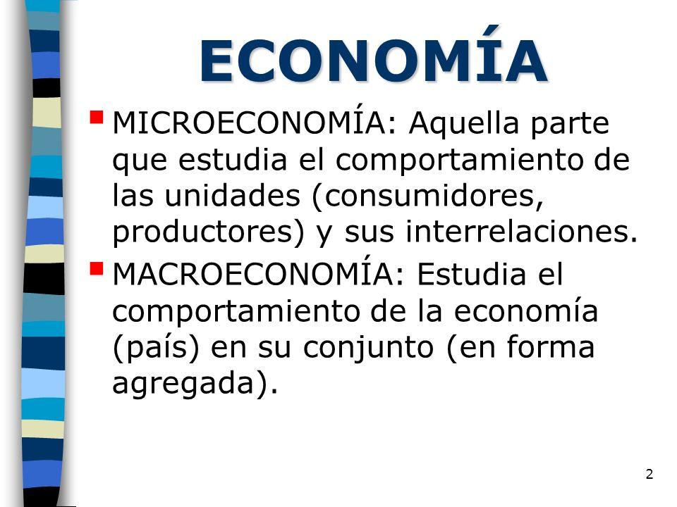 2 ECONOMÍA MICROECONOMÍA: Aquella parte que estudia el comportamiento de las unidades (consumidores, productores) y sus interrelaciones. MACROECONOMÍA