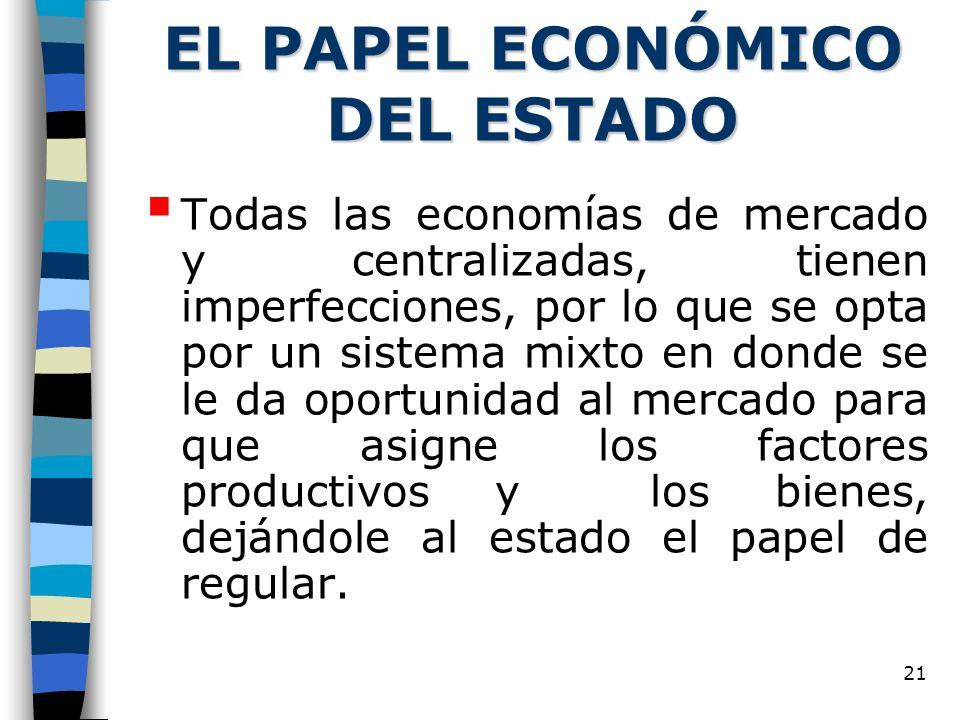 21 EL PAPEL ECONÓMICO DEL ESTADO Todas las economías de mercado y centralizadas, tienen imperfecciones, por lo que se opta por un sistema mixto en don