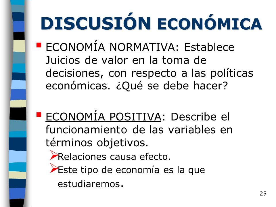 25 DISCUSIÓN ECONÓMICA ECONOMÍA NORMATIVA: Establece Juicios de valor en la toma de decisiones, con respecto a las políticas económicas.