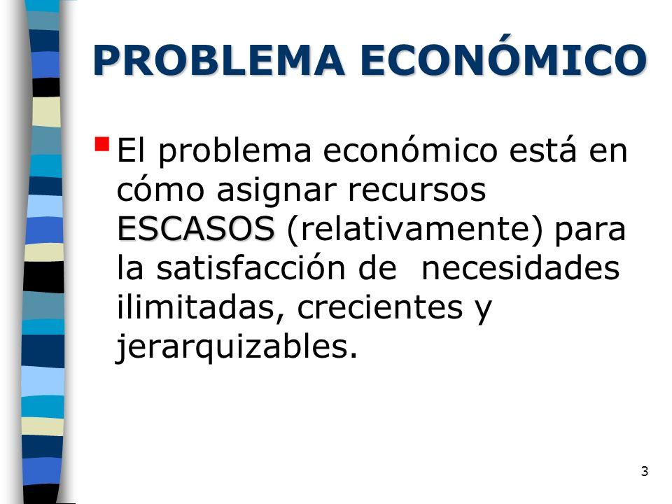 3 PROBLEMA ECONÓMICO ESCASOS El problema económico está en cómo asignar recursos ESCASOS (relativamente) para la satisfacción de necesidades ilimitada