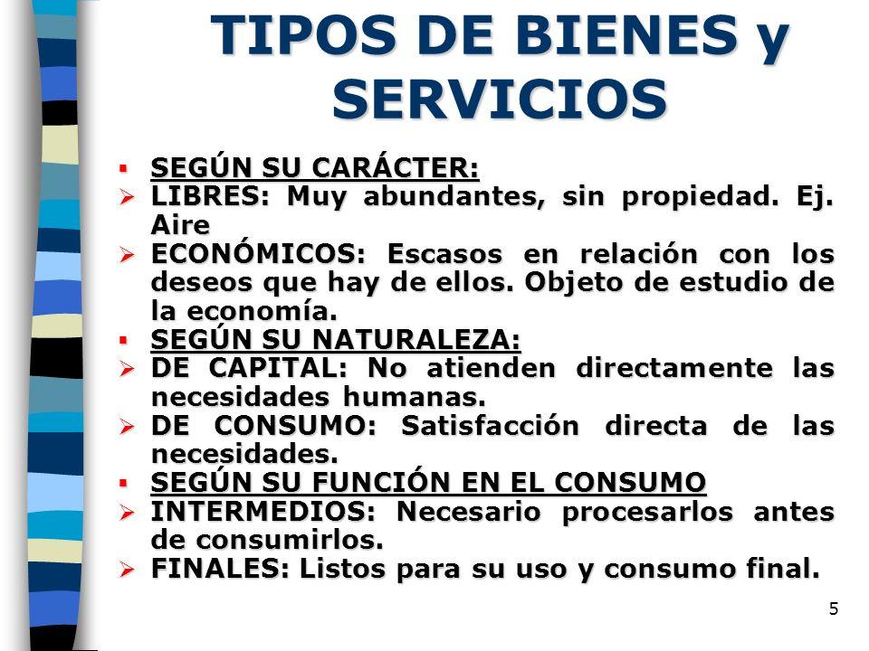 5 TIPOS DE BIENES y SERVICIOS SEGÚN SU CARÁCTER: SEGÚN SU CARÁCTER: LIBRES: Muy abundantes, sin propiedad.