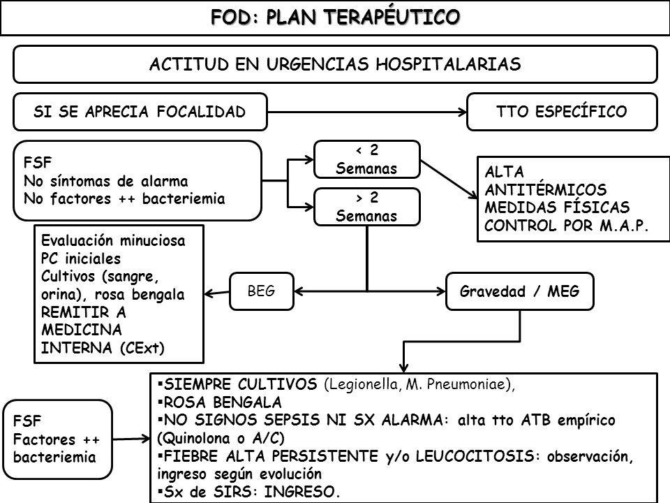 FOD: PLAN TERAPÉUTICO ACTITUD EN URGENCIAS HOSPITALARIAS SI SE APRECIA FOCALIDAD FSF No síntomas de alarma No factores ++ bacteriemia TTO ESPECÍFICO <