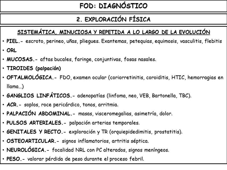 FOD: DIAGNÓSTICO SISTEMÁTICA, MINUCIOSA Y REPETIDA A LO LARGO DE LA EVOLUCIÓN PIEL.- escroto, perineo, uñas, pliegues. Exantemas, petequias, equimosis