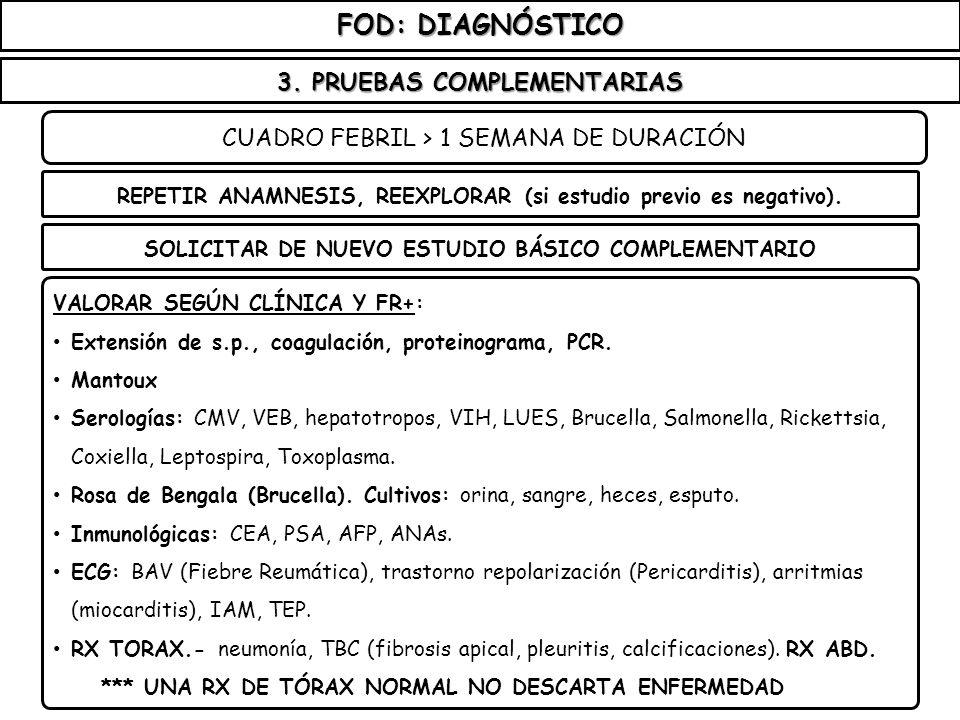 FOD: DIAGNÓSTICO 3. PRUEBAS COMPLEMENTARIAS CUADRO FEBRIL > 1 SEMANA DE DURACIÓN SOLICITAR DE NUEVO ESTUDIO BÁSICO COMPLEMENTARIO REPETIR ANAMNESIS, R