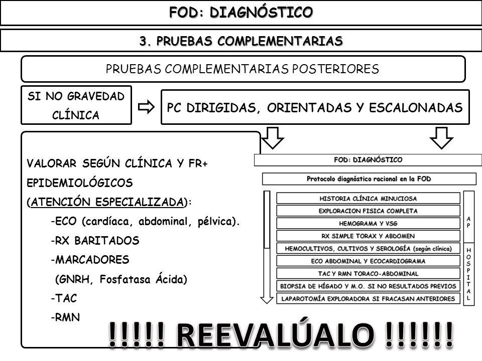 FOD: DIAGNÓSTICO 3. PRUEBAS COMPLEMENTARIAS PRUEBAS COMPLEMENTARIAS POSTERIORES PC DIRIGIDAS, ORIENTADAS Y ESCALONADAS SI NO GRAVEDAD CLÍNICA VALORAR