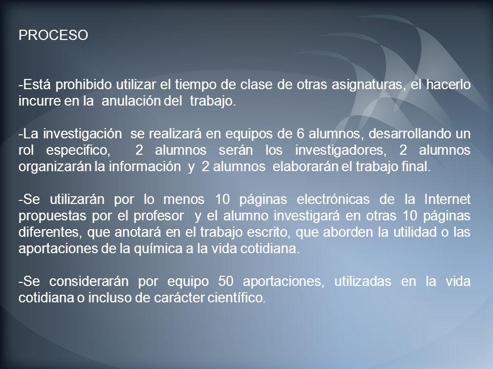PROCESO -Está prohibido utilizar el tiempo de clase de otras asignaturas, el hacerlo incurre en la anulación del trabajo. -La investigación se realiza