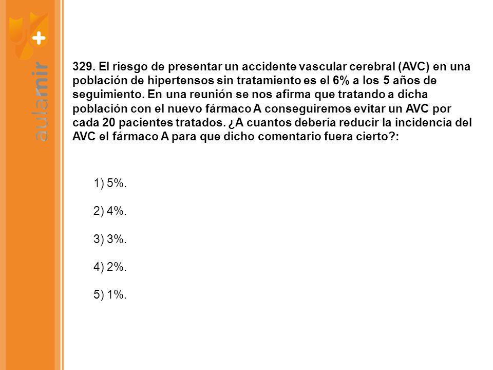 329. El riesgo de presentar un accidente vascular cerebral (AVC) en una población de hipertensos sin tratamiento es el 6% a los 5 años de seguimiento.