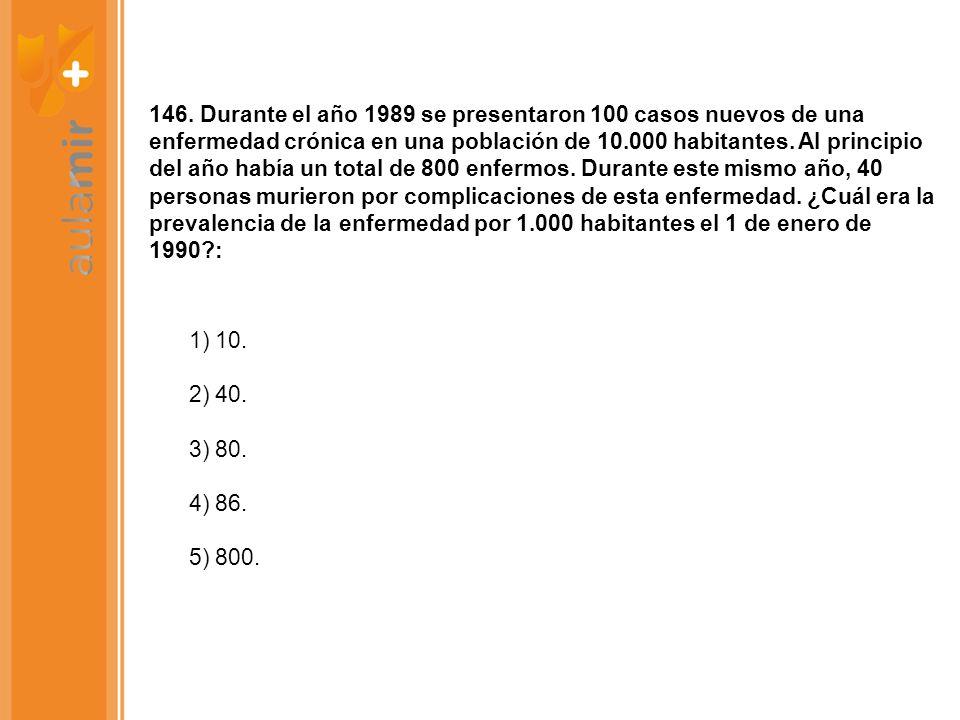 146. Durante el año 1989 se presentaron 100 casos nuevos de una enfermedad crónica en una población de 10.000 habitantes. Al principio del año había u