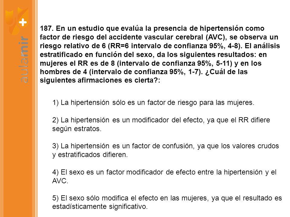 187. En un estudio que evalúa la presencia de hipertensión como factor de riesgo del accidente vascular cerebral (AVC), se observa un riesgo relativo