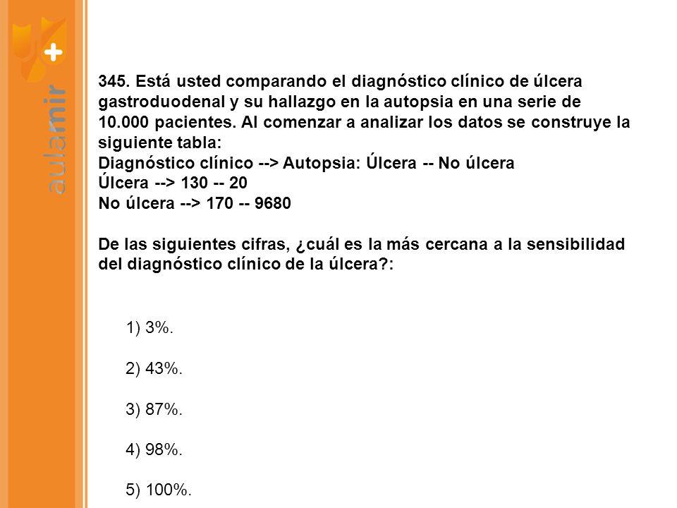 345. Está usted comparando el diagnóstico clínico de úlcera gastroduodenal y su hallazgo en la autopsia en una serie de 10.000 pacientes. Al comenzar