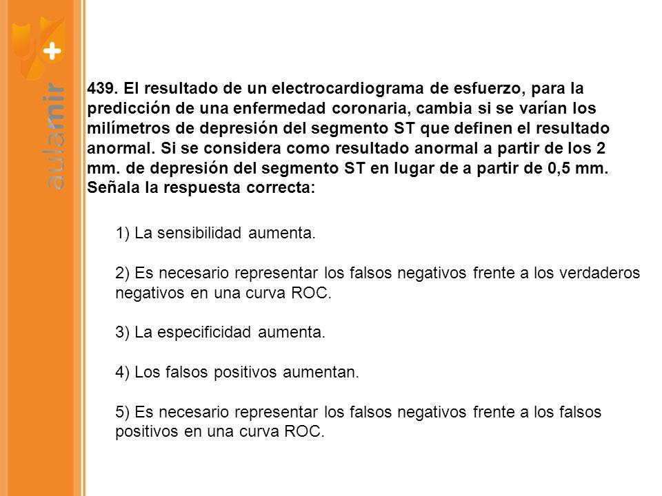 439. El resultado de un electrocardiograma de esfuerzo, para la predicción de una enfermedad coronaria, cambia si se varían los milímetros de depresió