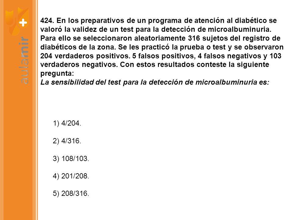 424. En los preparativos de un programa de atención al diabético se valoró la validez de un test para la detección de microalbuminuria. Para ello se s