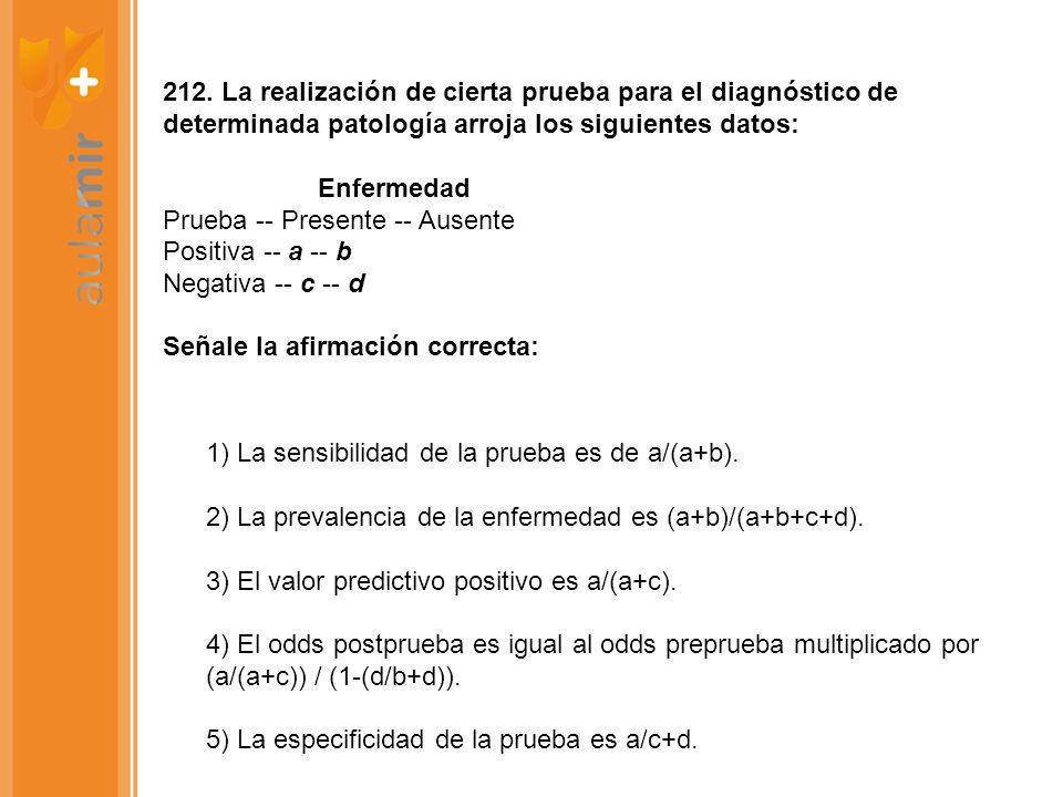 212. La realización de cierta prueba para el diagnóstico de determinada patología arroja los siguientes datos: Enfermedad Prueba -- Presente -- Ausent