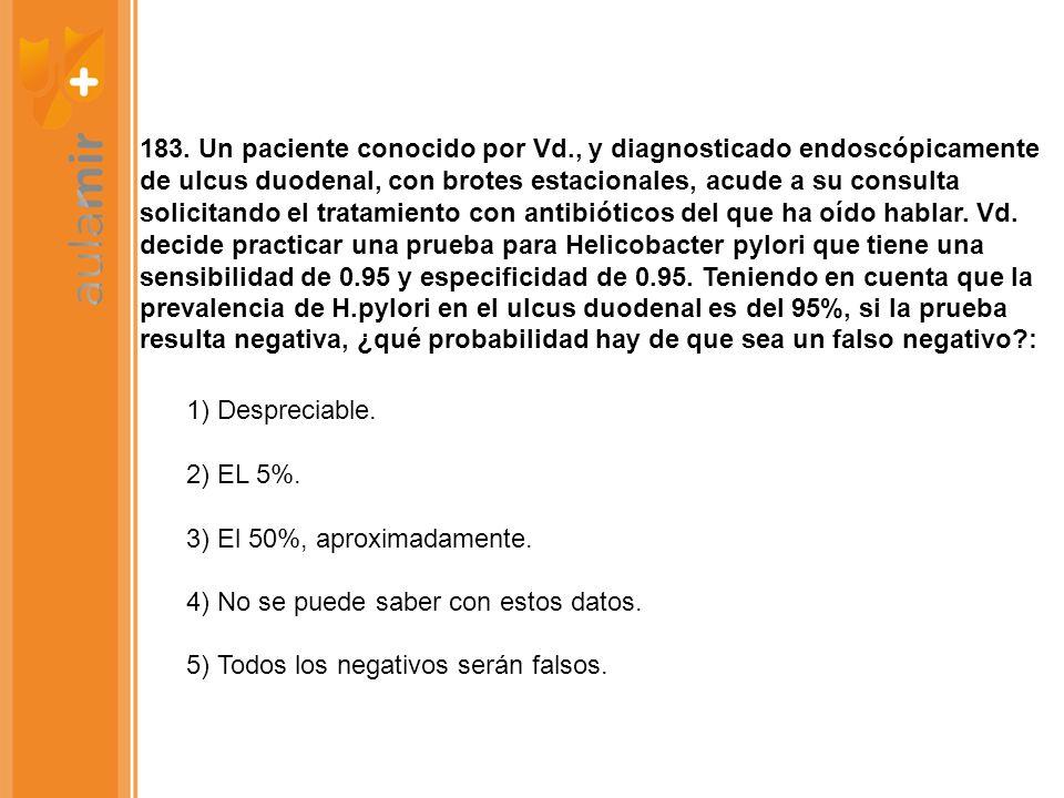 183. Un paciente conocido por Vd., y diagnosticado endoscópicamente de ulcus duodenal, con brotes estacionales, acude a su consulta solicitando el tra