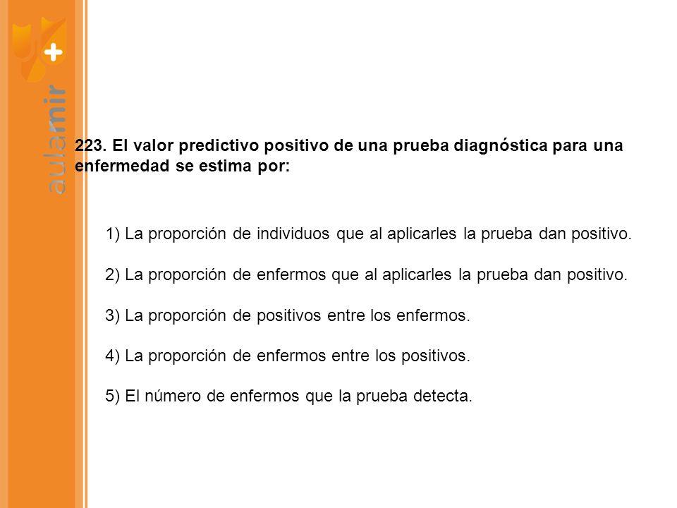 223. El valor predictivo positivo de una prueba diagnóstica para una enfermedad se estima por: 1) La proporción de individuos que al aplicarles la pru