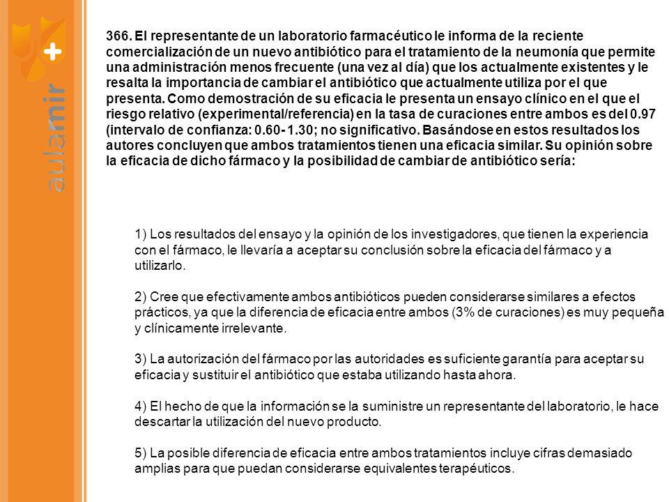 366. El representante de un laboratorio farmacéutico le informa de la reciente comercialización de un nuevo antibiótico para el tratamiento de la neum