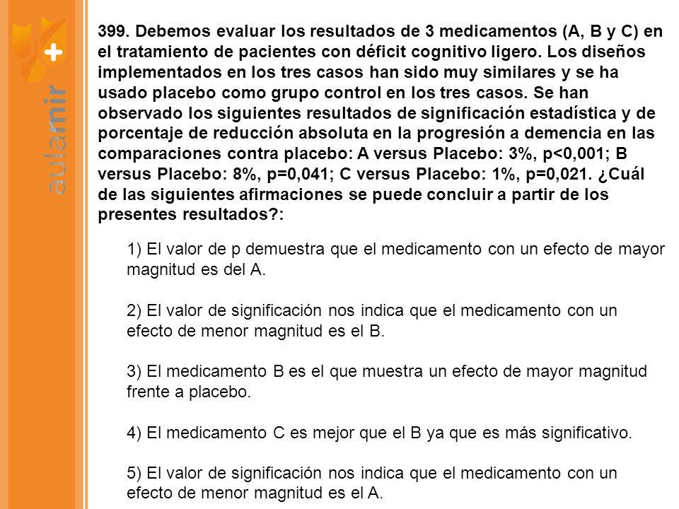 399. Debemos evaluar los resultados de 3 medicamentos (A, B y C) en el tratamiento de pacientes con déficit cognitivo ligero. Los diseños implementado