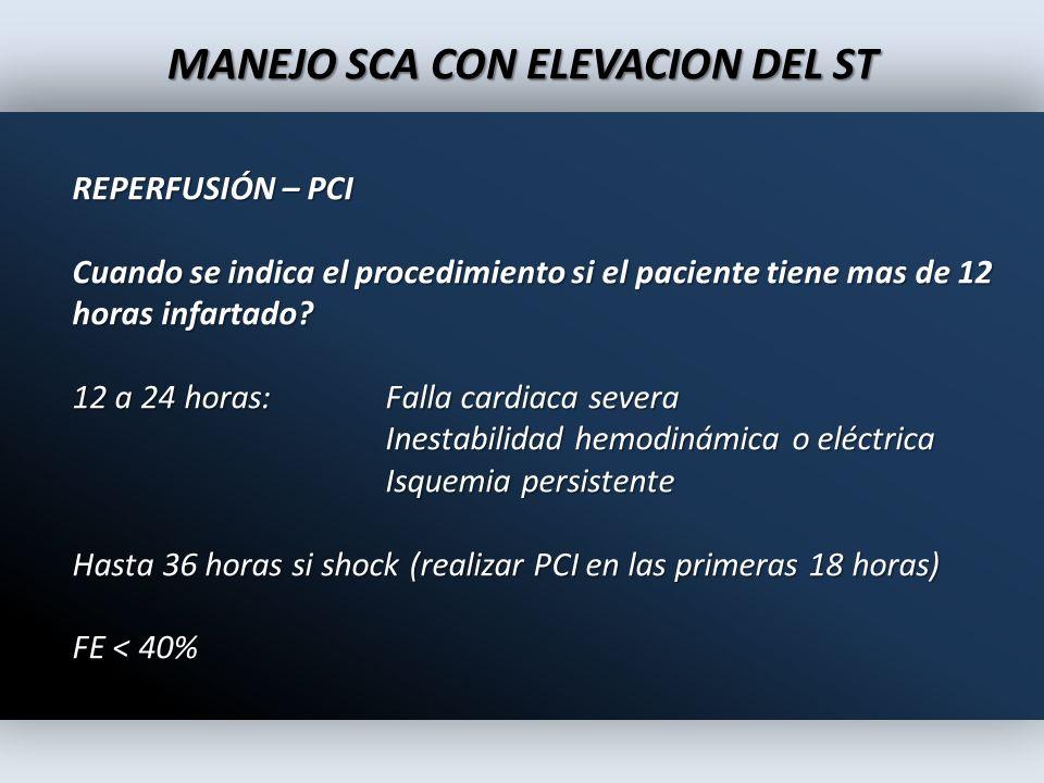 MANEJO SCA CON ELEVACION DEL ST REPERFUSIÓN – PCI Cuando se indica el procedimiento si el paciente tiene mas de 12 horas infartado? 12 a 24 horas:Fall