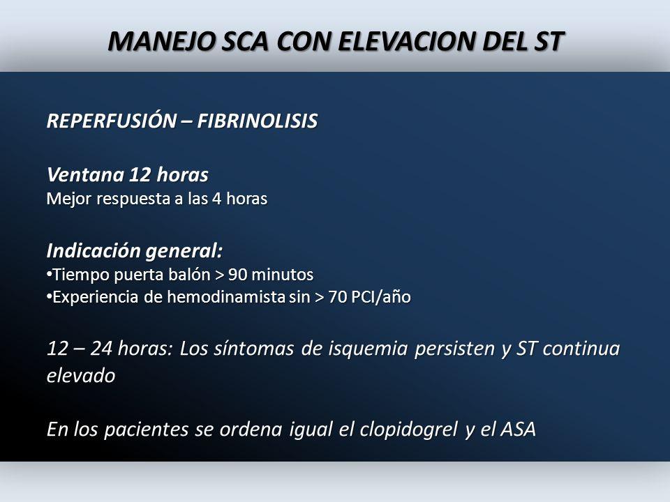 MANEJO SCA CON ELEVACION DEL ST REPERFUSIÓN – FIBRINOLISIS Ventana 12 horas Mejor respuesta a las 4 horas Indicación general: Tiempo puerta balón > 90