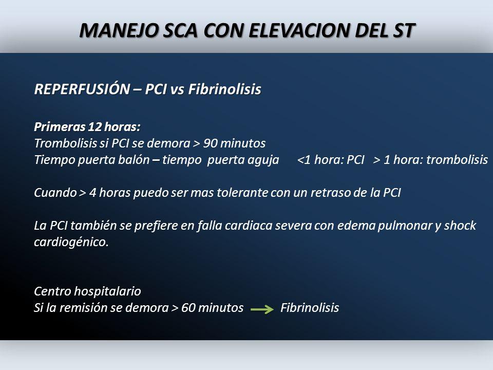 MANEJO SCA CON ELEVACION DEL ST REPERFUSIÓN – PCI vs Fibrinolisis Primeras 12 horas: Trombolisis si PCI se demora > 90 minutos – Tiempo puerta balón –