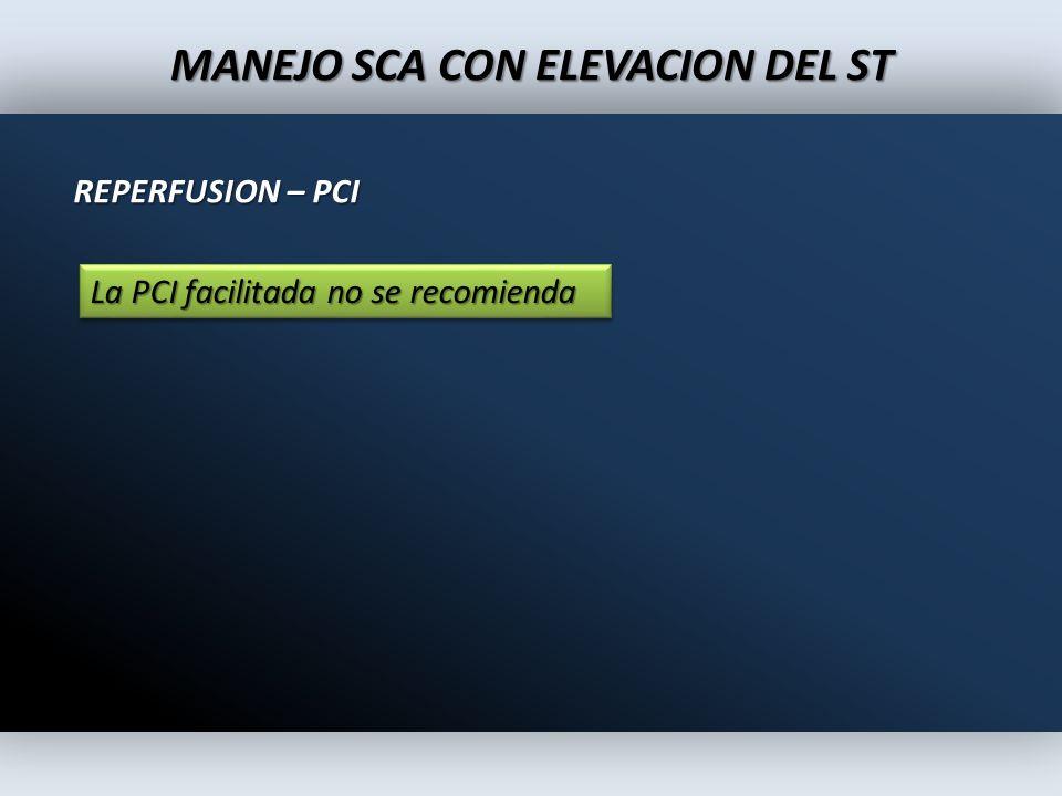 MANEJO SCA CON ELEVACION DEL ST REPERFUSION – PCI La PCI facilitada no se recomienda
