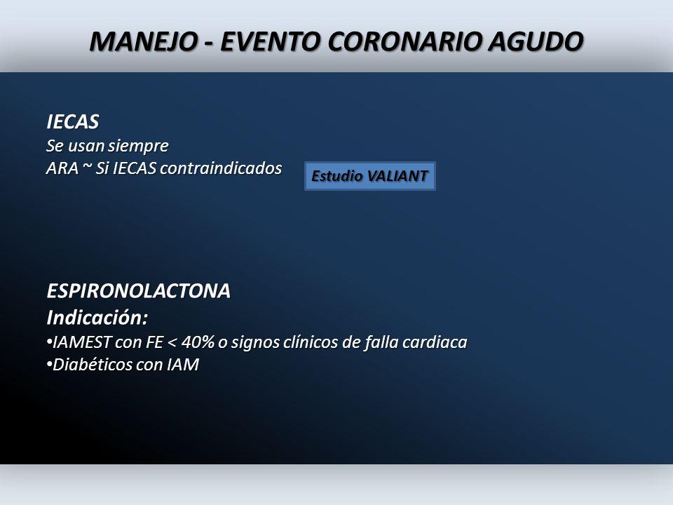 IECAS Se usan siempre ARA ~ Si IECAS contraindicados MANEJO - EVENTO CORONARIO AGUDO ESPIRONOLACTONAIndicación: IAMEST con FE < 40% o signos clínicos
