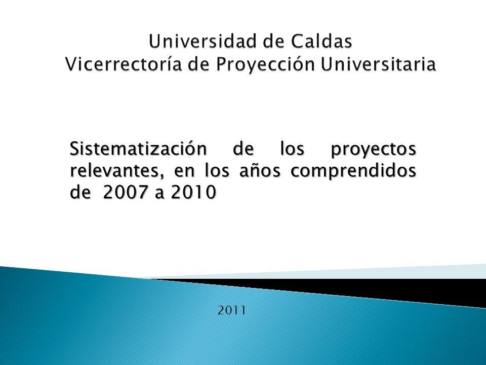Sistematización de los proyectos relevantes, en los años comprendidos de 2007 a 2010 2011