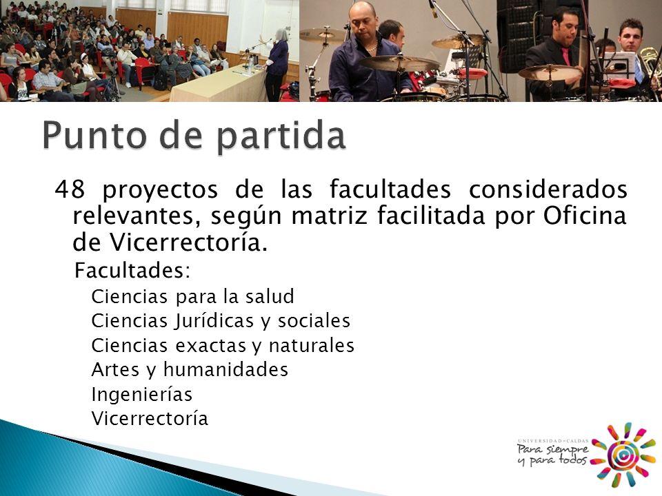 48 proyectos de las facultades considerados relevantes, según matriz facilitada por Oficina de Vicerrectoría.