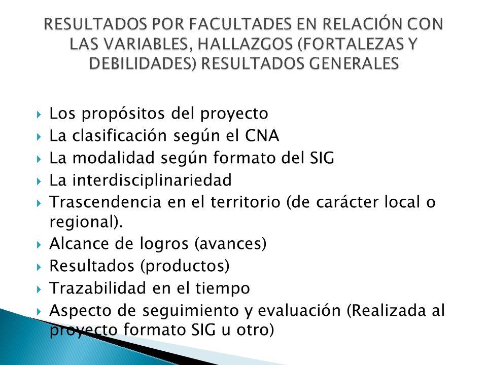 Los propósitos del proyecto La clasificación según el CNA La modalidad según formato del SIG La interdisciplinariedad Trascendencia en el territorio (de carácter local o regional).