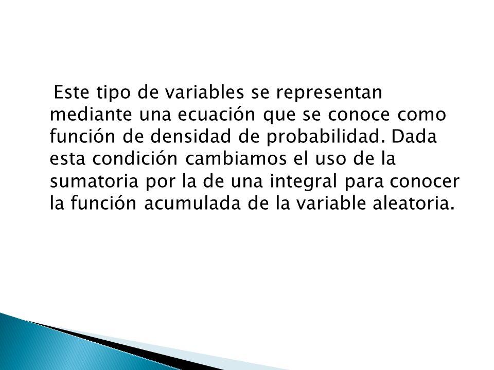 Este tipo de variables se representan mediante una ecuación que se conoce como función de densidad de probabilidad. Dada esta condición cambiamos el u